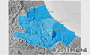 Political Shades 3D Map of Abruzzo, desaturated