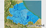 Political Shades 3D Map of Abruzzo, satellite outside