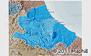 Political Shades 3D Map of Abruzzo, semi-desaturated