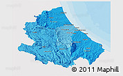 Political Shades 3D Map of Abruzzo, single color outside