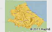 Savanna Style 3D Map of Abruzzo, single color outside
