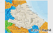 Shaded Relief 3D Map of Abruzzo, political outside