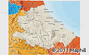 Shaded Relief 3D Map of Abruzzo, political shades outside