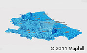 Political Shades Panoramic Map of Abruzzo, cropped outside