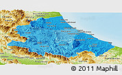 Political Shades Panoramic Map of Abruzzo, physical outside