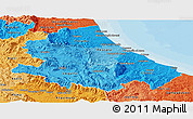 Political Shades Panoramic Map of Abruzzo