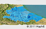Political Shades Panoramic Map of Abruzzo, satellite outside