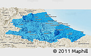 Political Shades Panoramic Map of Abruzzo, shaded relief outside