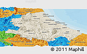 Shaded Relief Panoramic Map of Abruzzo, political outside
