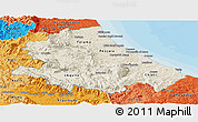 Shaded Relief Panoramic Map of Abruzzo, political shades outside