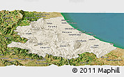 Shaded Relief Panoramic Map of Abruzzo, satellite outside
