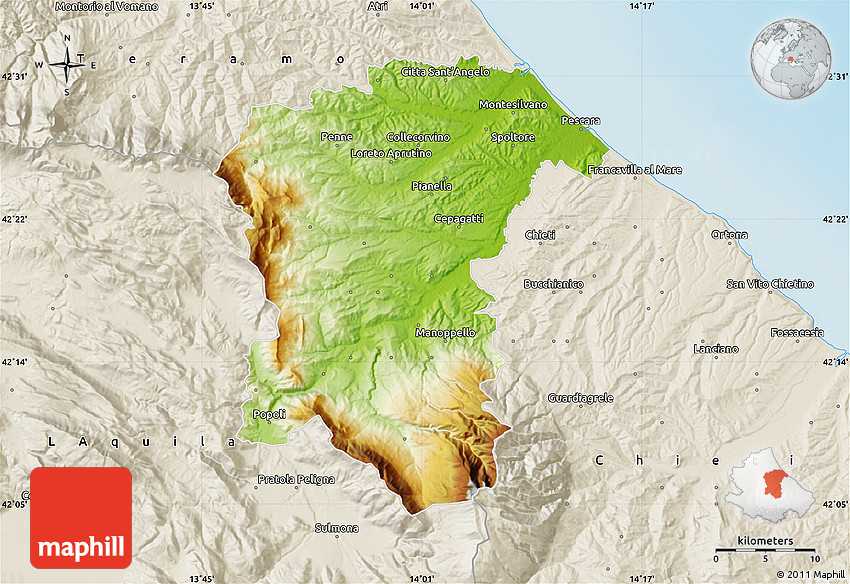 Physical Map of Pescara shaded relief outside