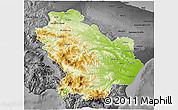 Physical 3D Map of Basilicata, darken, desaturated