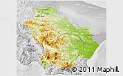 Physical 3D Map of Basilicata, lighten, desaturated