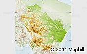 Physical Map of Basilicata, lighten