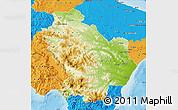 Physical Map of Basilicata, political outside