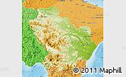 Physical Map of Basilicata, political shades outside
