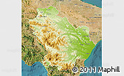 Physical Map of Basilicata, satellite outside
