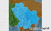 Political Shades Map of Basilicata, darken