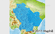 Political Shades Map of Basilicata, physical outside