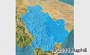 Political Shades Map of Basilicata, satellite outside