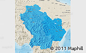 Political Shades Map of Basilicata, shaded relief outside