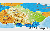 Physical Panoramic Map of Basilicata, political outside
