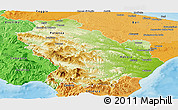 Physical Panoramic Map of Basilicata, political shades outside