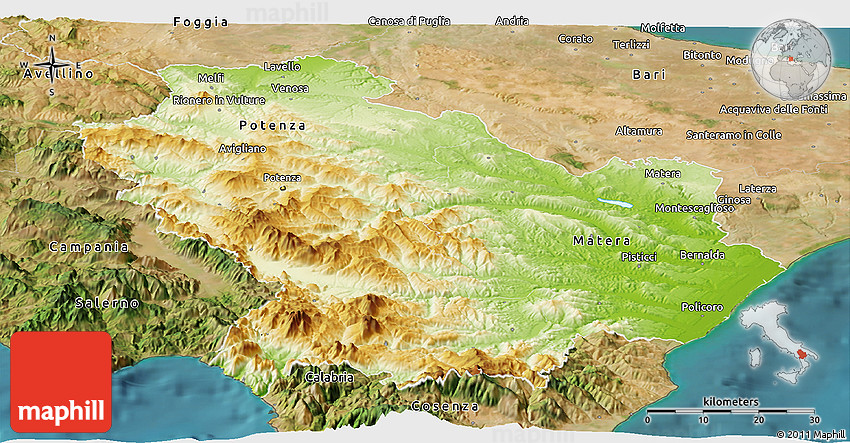 Physical Panoramic Map of Basilicata satellite outside