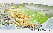 Physical Panoramic Map of Basilicata, semi-desaturated
