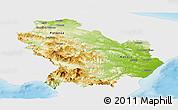 Physical Panoramic Map of Basilicata, single color outside
