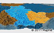 Political Panoramic Map of Basilicata, darken