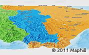 Political Panoramic Map of Basilicata, political shades outside