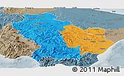 Political Panoramic Map of Basilicata, semi-desaturated