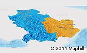 Political Panoramic Map of Basilicata, single color outside