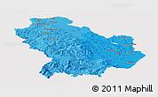 Political Shades Panoramic Map of Basilicata, cropped outside