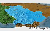 Political Shades Panoramic Map of Basilicata, darken