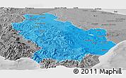 Political Shades Panoramic Map of Basilicata, desaturated