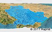 Political Shades Panoramic Map of Basilicata, satellite outside