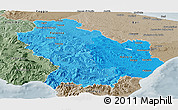 Political Shades Panoramic Map of Basilicata, semi-desaturated