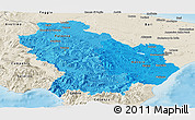 Political Shades Panoramic Map of Basilicata, shaded relief outside