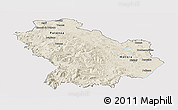 Shaded Relief Panoramic Map of Basilicata, cropped outside
