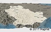 Shaded Relief Panoramic Map of Basilicata, darken