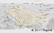 Shaded Relief Panoramic Map of Basilicata, desaturated