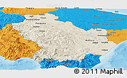 Shaded Relief Panoramic Map of Basilicata, political outside