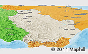 Shaded Relief Panoramic Map of Basilicata, political shades outside