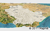 Shaded Relief Panoramic Map of Basilicata, satellite outside