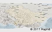 Shaded Relief Panoramic Map of Basilicata, semi-desaturated