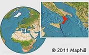 Satellite Location Map of Calabria