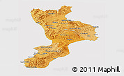 Political Shades Panoramic Map of Calabria, cropped outside